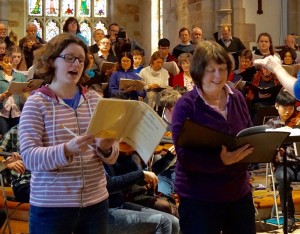 Angela and her younger daughter, Sarah, rehearsing solo sections of Pergolesi's Magnificat